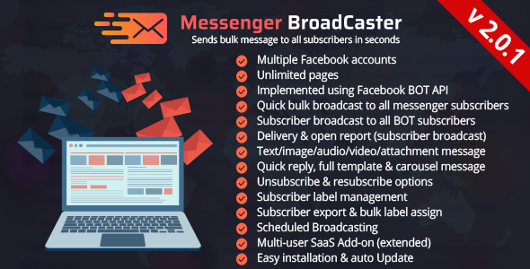Messenger Broadcaster - A Bot Inboxer Add-on : Send Bulk Message to Facebook Messenger Subscribers