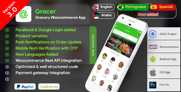 Grocery Android App with Woocommerce Backend + Grocery iOS App |  Full Application | Grocer