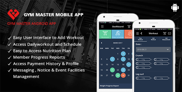Gym Master Mobile App for Android