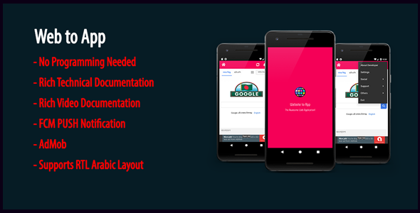 Web to App | Native Universal Android WebView App with AdMob & Firebase PUSH Notification