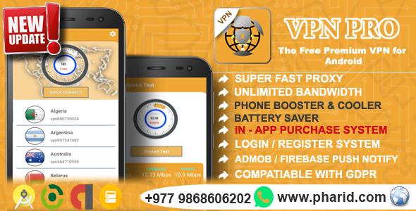 VPN Pro 2019 - Android Free Pro VPN | In-App Purchase, Admin Panel, Login/Register, Admob, Firebase