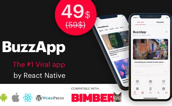 BuzzApp - Viral Magazine WordPress app by React Native (CeNews)