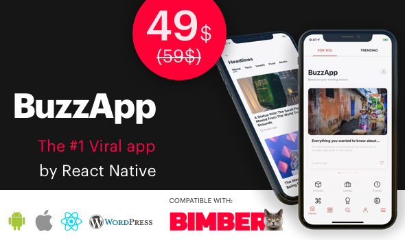 BuzzApp - Viral Magazine WordPress app by React Native (CeNews)
