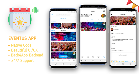 Eventus - Create Your Own Events | Android Studio/Back4App/Firebase