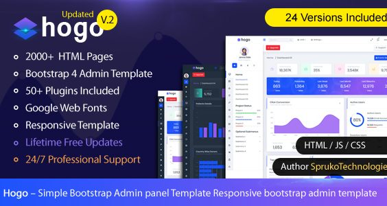 Hogo – Clean Multipurpose Responsive Bootstrap Simple Admin Panel Template