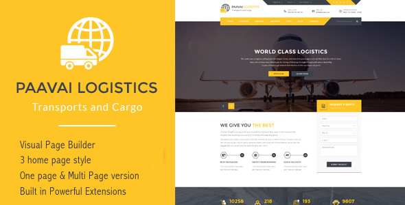 Paavai Logistics – Transport and Cargo WordPress Theme