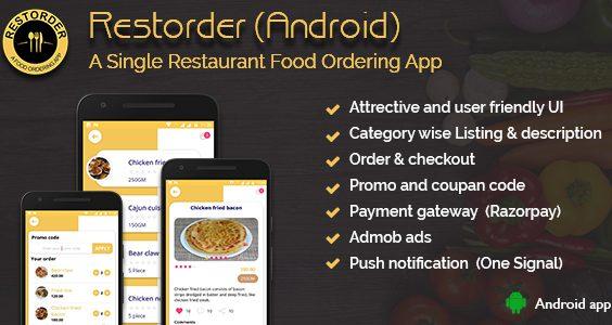 Restorder (Android) - A single restaurant food ordering app.