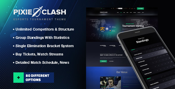 PixieClash | eSports gaming theme for tournaments & competitions