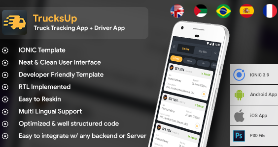 Truck Tracking & Driver Android + iOS App Template | HTML + Css IONIC 3 | TrucksUp