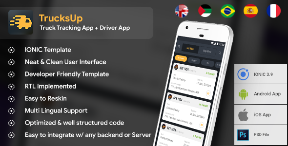 Truck Tracking & Driver Android + iOS App Template   HTML + Css IONIC 3   TrucksUp