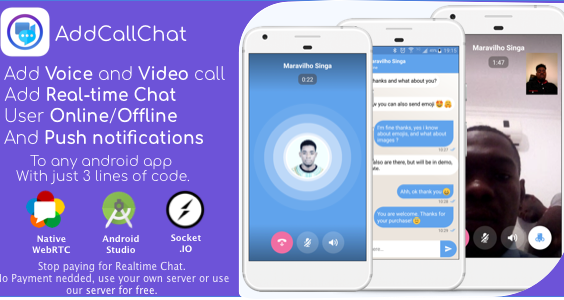 AddCallChat - Add Video/Voice Calls and Realtime Chat to any app, with WebRTC, just few line of code