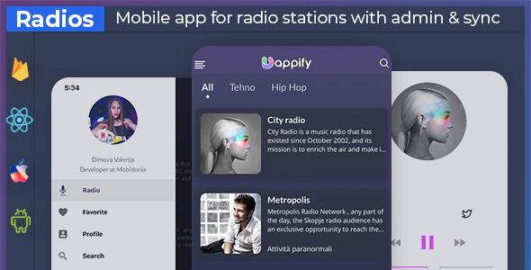 UniExpo - radio stations app + backend (React native + Expo )