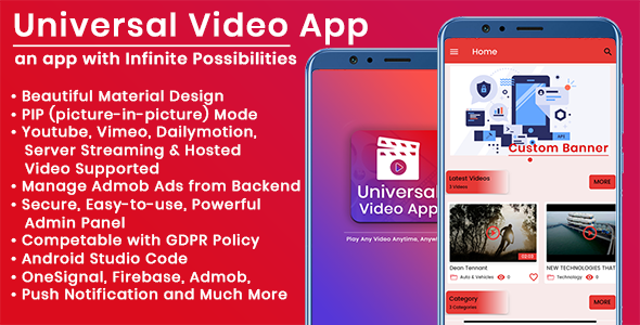Universal Video app : 5 Apps in one with Admin Panel
