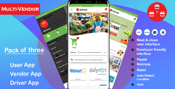 Multi Vendor Grocery Android App with Backend | Bigbasket Grofers Happyfresh Clone