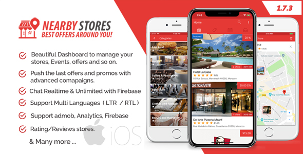 NearbyStores iOS - Offers, Events & Chat Realtime + Firebase 1.7