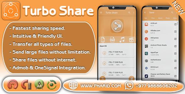 Turbo Share - ShareIt Clone | Transfer & Share | Popular App, Admob & Onesignal Integration