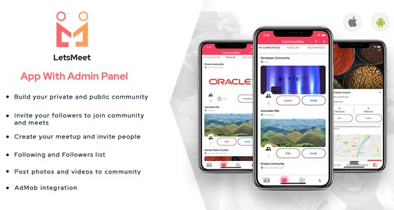 LetsMeet - iOS Community & Meetup App + Admin panel