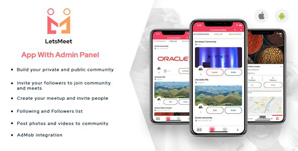 LetsMeet - iOS Community & Meetup App + Admin panel