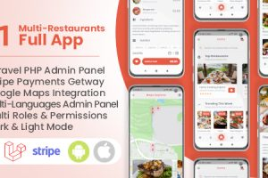Multi Restaurants Flutter + PHP Laravel Admin Panel