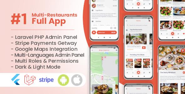 Multi Restaurants Flutter + PHP Laravel Admin Panel