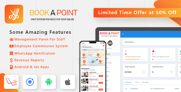 Salon & Spa Appointment Booking Android - iOS App with admin panel - Book A Point