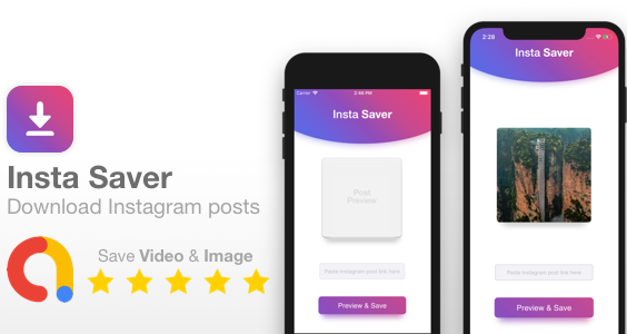 Insta Saver - Full iOS app template - Save Instagram Video/Image posts to your photo gallery