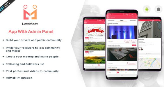 LetsMeet - Android Community & Meetup App + Admin panel