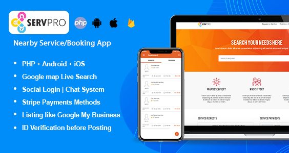 SERVPRO – On-Demand Nearby Service Provider & Booking Finder App (Web + Android + iOS)