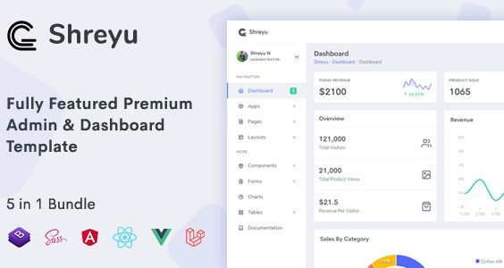 Shreyu - Admin & Dashboard, Angular, React, Vue and Laravel