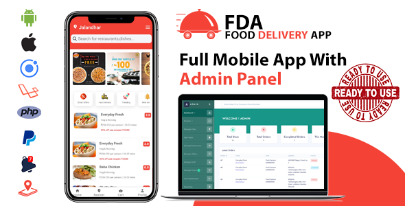 ionic 5 Food delivery App for Android & ios with complete Admin Panel (Ready to use app)