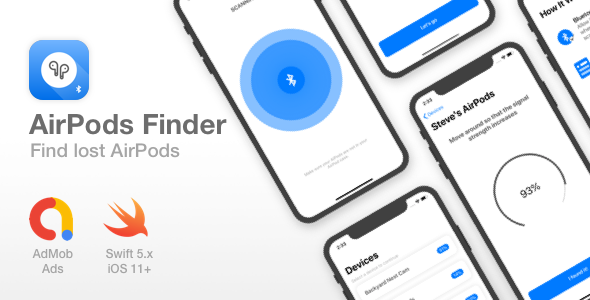 AirPods Finder - Locate lost Bluetooth Devices - Full iOS app