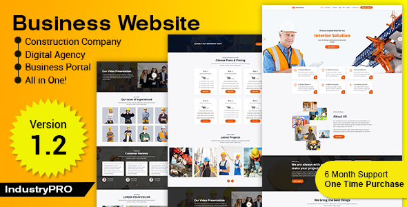 Industry PRO - Multipurpose Construction Builder and Agency Website Script