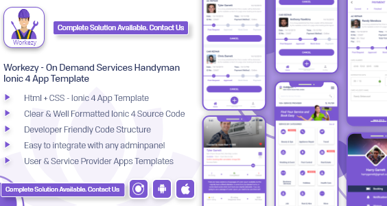 Workezy - Handyman Service Booking App template | ionic 4 | Android App + iOS App