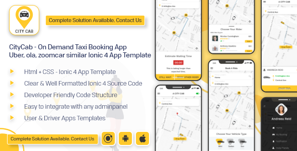 CityCab - On Demand Taxi Booking App -  Uber, ola, zoomcar similar app ionic 4 template android ios