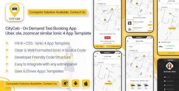 CityCab - On Demand Taxi Booking App -  Uber, ola, zoomcar similar app ionic 4 template android ios