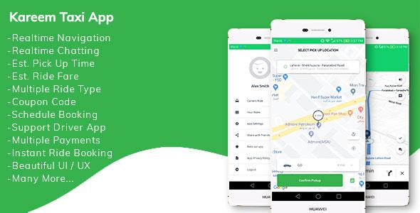 Kareem Taxi App - Cab Booking Solution + admin panel