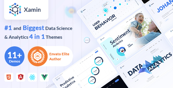 Xamin Data Science & Analytics HTML, Angular, Vue & React Template