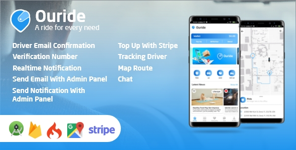 Ouride - Transportation App With Customer App, Driver App, and Admin Panel