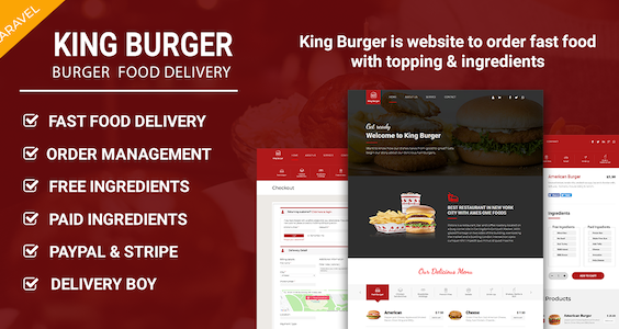King Burger - Restaurant Food Ordering website with Ingredients In Laravel