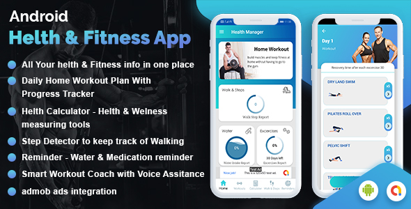 Workout Manager & Health Calculator for Fitness ( Water medicine reminder & pedometer )