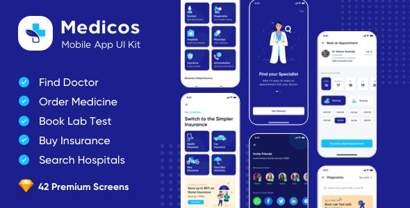 Medicos - Healthcare Mobile Sketch App UI Kit