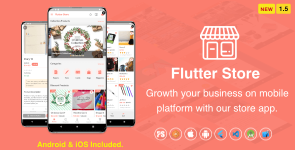 Flutter Store ( Ecommerce Mobile App for iOS & Android with same backend ) 1.5