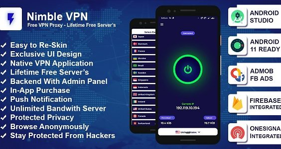Nimble VPN: Premium VPN App Source Code with Admob & Facebook Ads - OneSignal Integrated