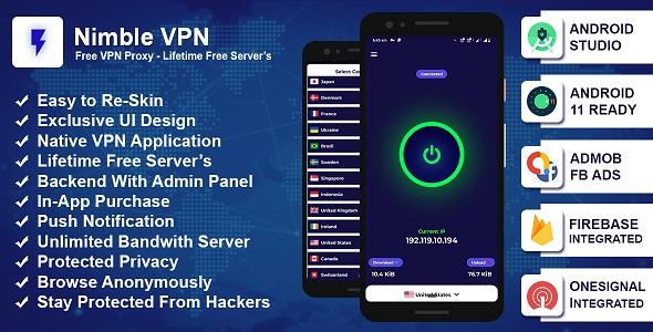 Nimble VPN: Premium VPN App Source Code with Admob & Facebook Ads - OneSignal Integrated
