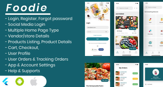 Foodie - Flutter Grocery, Food, Pharmacy, Store Delivery Mobile App