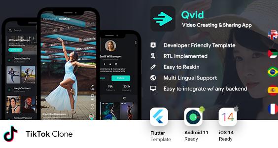 TikTok App| Video Creating Android App+ Short Video iOS App| Flutter Template| Qvid