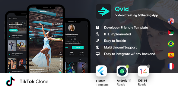 TikTok App| Video Creating Android App+ Short Video iOS App| Flutter Template| Qvid