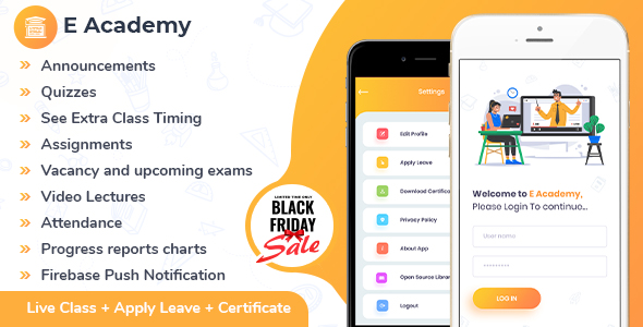 E-Academy - Online Classes / Institute / Tuition And Course Management (Android App + Admin Panel)