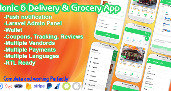 Food Delivery Ionic + PHP Laravel Admin Panel