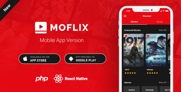 MoFlix Mobile App - React Native - Movies - TV Series